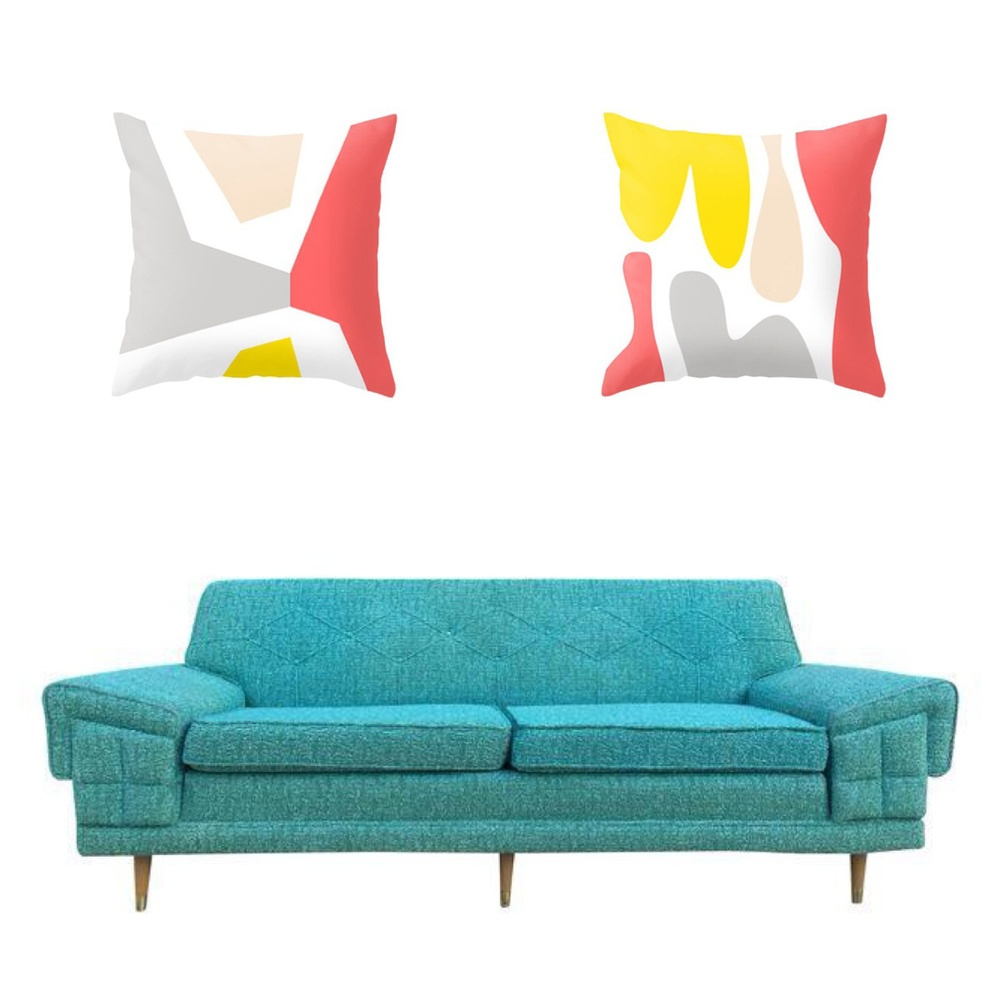 Sofa from Barefoot Dwelling via Chairish ,  Pillows from Mod Pieces