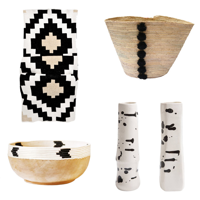 Throw from Leif ,  Basket from Shoppe by Amber Interiors ,  Vases from Domino ,  Bowl from Shoppe by Amber Interiors