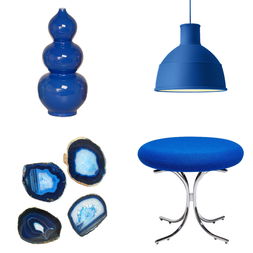 Vase from Domino ,  Pendant Light from Muuto ,  Stool from ABC Carpet & Home ,  Agate Coasters from Lulu & Georgia