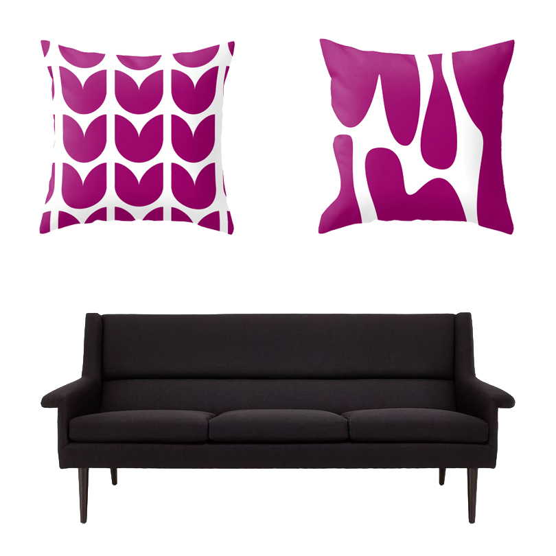 Tulips Print Throw Pillow  +  Lava Print Throw Pillow from Mod Pieces ,  Sofa from ABC Carpet & Home