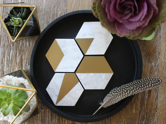 Carrara Marble & Metallic Gold Geometric Hexagon Coasters  - Fiddle Leaf