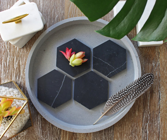 Nero Marquina Marble Geometric Coasters  - Fiddle Leaf