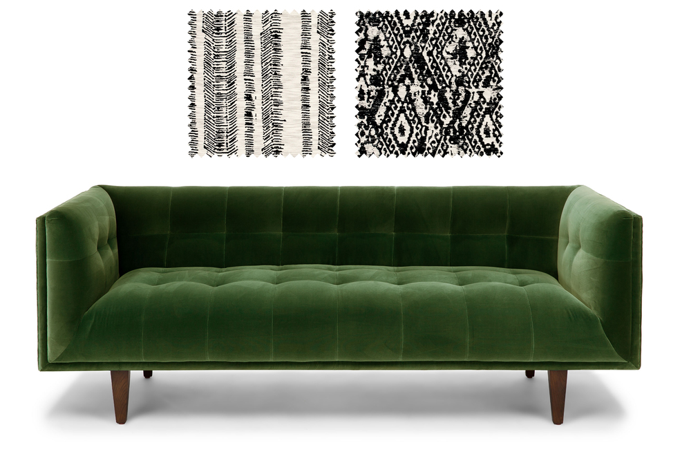 Cirrus Sofa from Bryght  +  Fabrics from Duralee