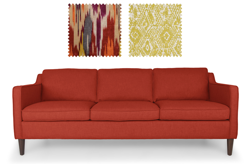 Cherie Sofa from Bryght  +  Fabrics from Duralee