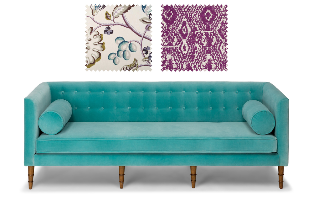 Celosia Sofa from Bryght  +  Fabrics from Duralee
