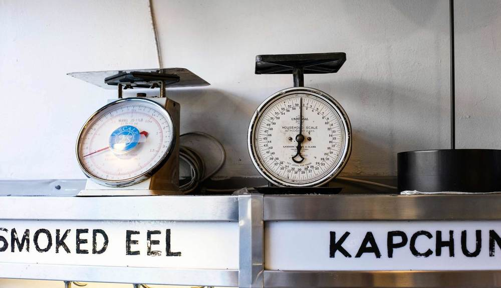 Russ & Daughters historic scales in the shop