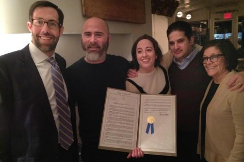 State Senator Daniel Squadron with Josh Russ Tupper and Niki Russ Federman (4th Generation Owners of Russ & Daughters). Herman Vargas (Manager), and Maria Federman (3rd Generatkion Owners of Russ & Daughters along with her husband Mark Russ Federman (not pictured).