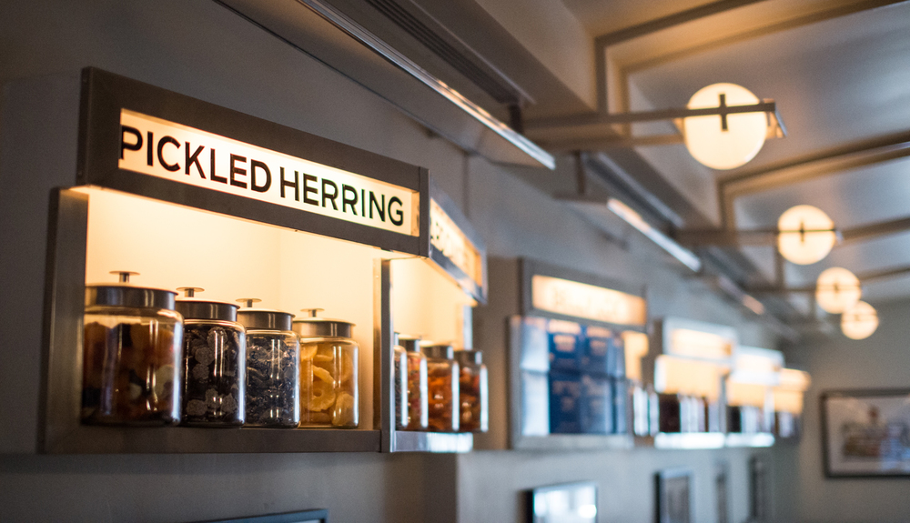 Pickled herring lightbox shelf