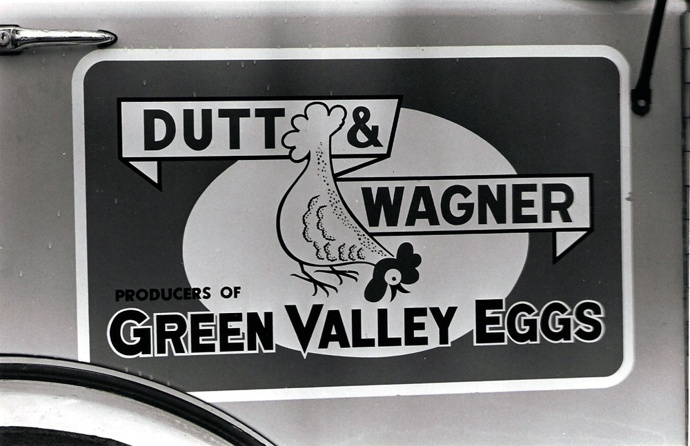 One of the original logos for Dutt & Wagner's Green Valley Eggs