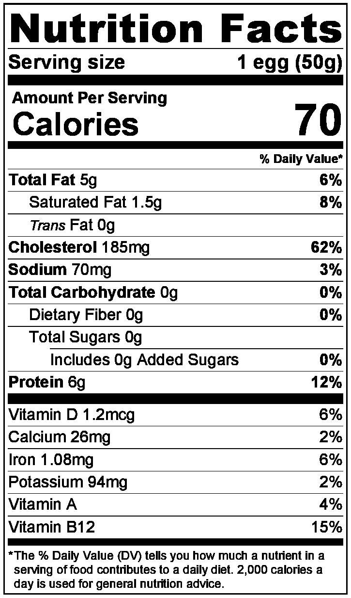 Chicken Egg NutritionLabel