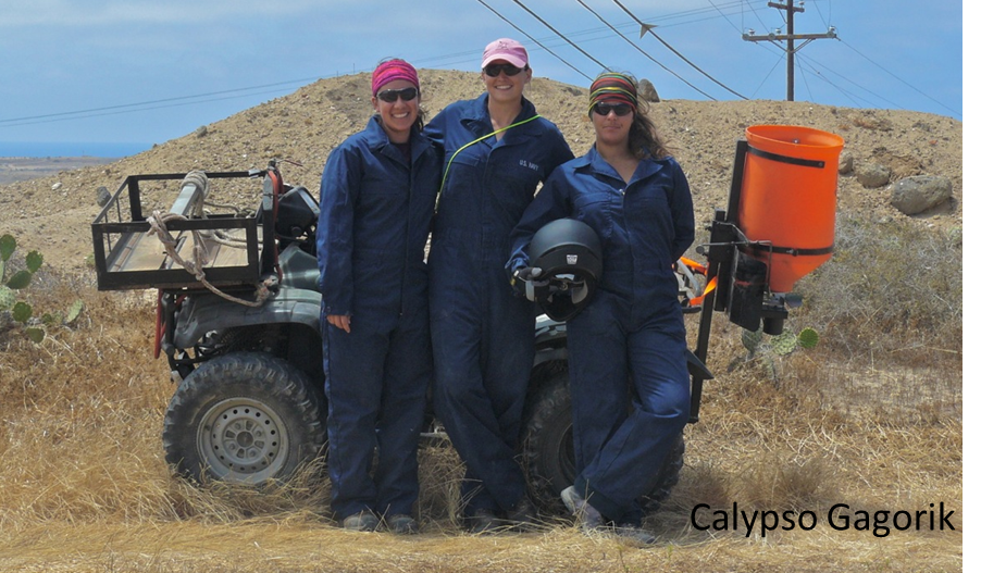 Korie C. Merrill (center) was the Argentine Ant Eradication Project Manager for the Soil Ecology and Restoration Group 2012-2016. Korie received her Master's of Science degree in Entomology from UC Riverside on this project. Her primary focus is native habitat restoration through projects such as research on invasive ant ecology and eradication across California's Channel Islands, San Clemente Island native plant habitat restoration, invasive plant management and rare plant surveys.  Amanda Chisholm (right) was the Argentine Ant Eradication Crew Lead for the Soil Ecology and Restoration Group. Amanda is a graduate from UC San Diego with a BS in Environmental Systems: Ecology, Behavior, and Evolution. She has worked on San Clemente Island since May 2014, working on the Argentine ant abatement project and habitat restoration project.  Calypso Gagorik is a graduate of Montana State University with a B.S. in Biological Sciences and a minor in Entomology. She has worked on the Argentine Ant Eradication Project on Santa Cruz and San Clemente Island.