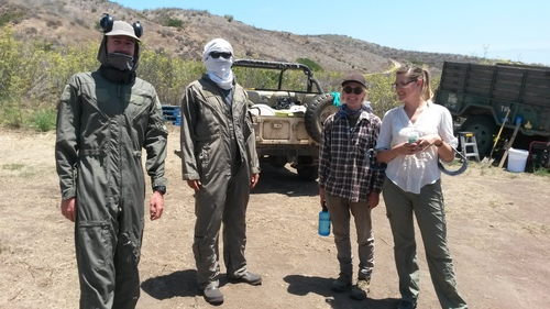 Preston Duncan, Vicotr Zhang, Ida Naughton and Christie Boser, preping  for treatment on Santa Cruz Island, 2015.