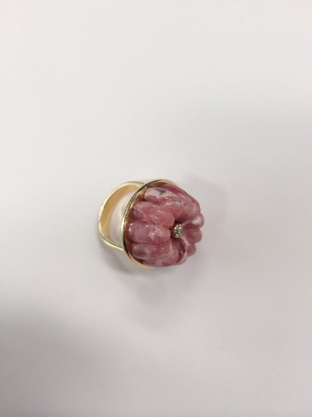 A rhodocrosite and diamond jelly mould ring from  Cora Sheibani .