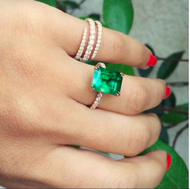 Always on Duha's finger, her custom made Columbian emerald and diamond ring by Anita Ko, commissioned in 2014
