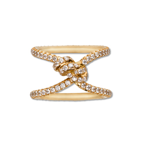 The Yuki ring from her Bondage collection, in 18k gold and diamonds. A personal favorite of Nora's.