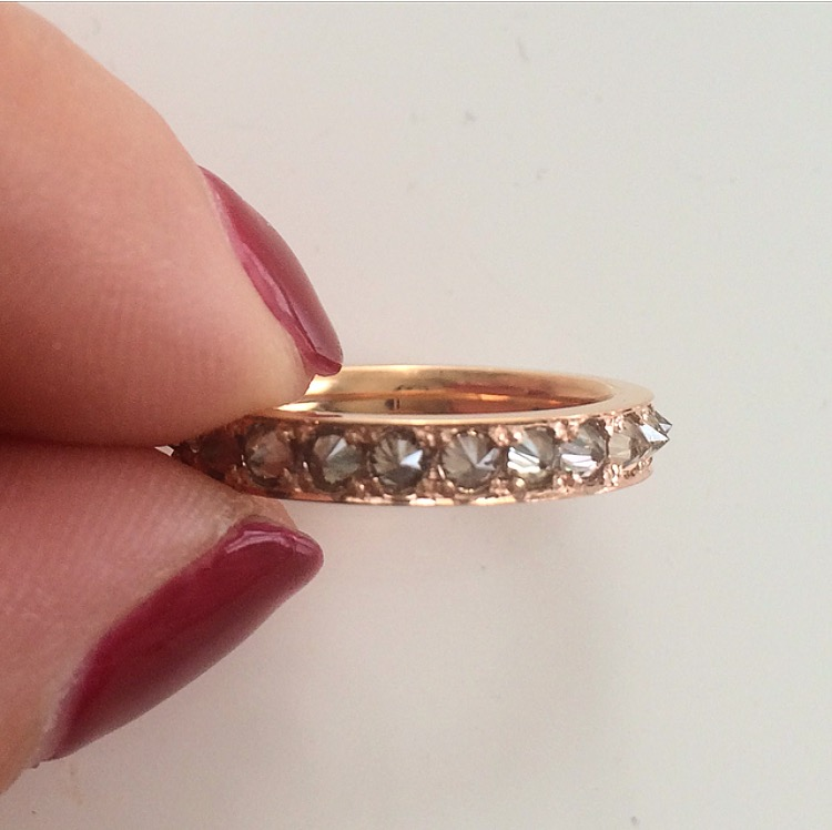 He wanted a totally unique anniversary band for his wife. She's game for anything. We created an inverse-set champagne diamond eternity band in 18k rose gold.