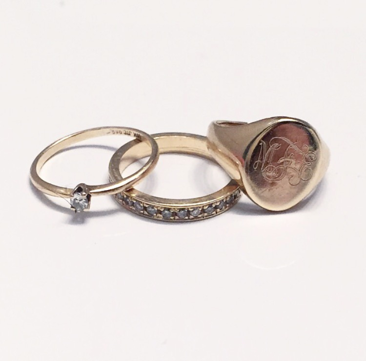 Three sweet little vintage rings totally refurbished and remade specially to fit Meaghan's pinky.