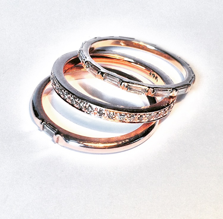 These 18k rose gold eternity bands with baguettes and pave were custom built for the same client with the rose gold split shank engagement ring.