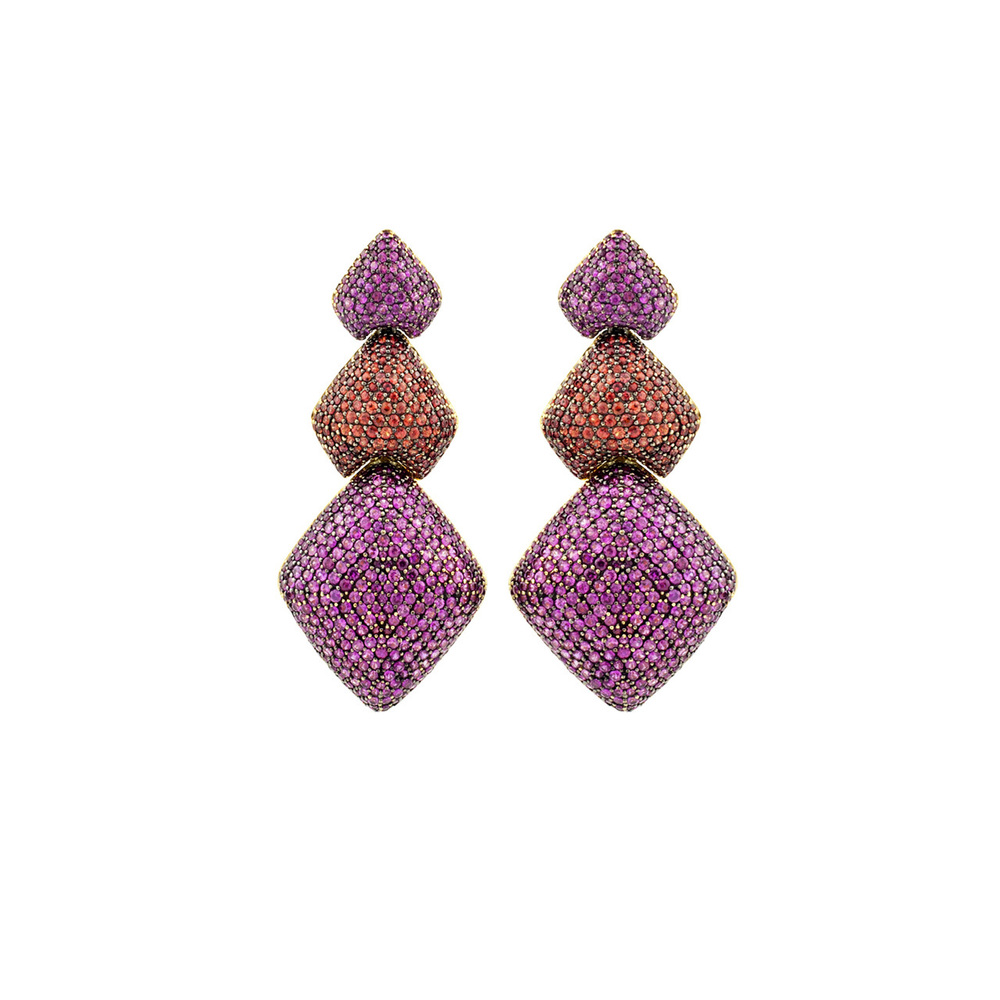Hydra Triple Diamond Drops  In pink and orange sapphires, $13,995.