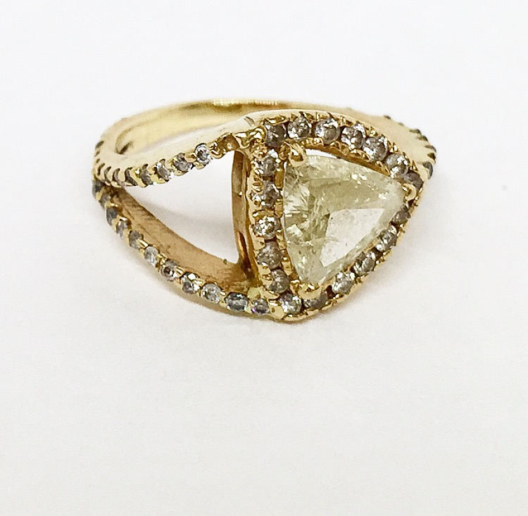 This diamond trillion ring was a totally custom order, made in 18k yellow gold with pave diamonds on the split shank.