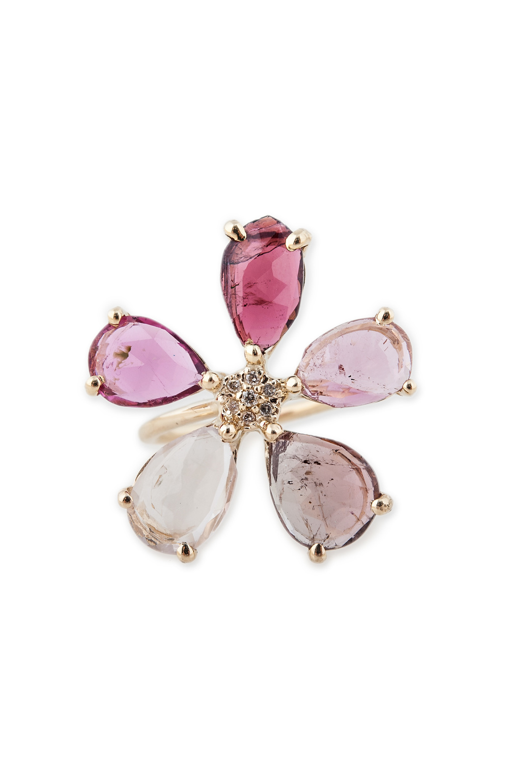 Assorted Tourmaline flower ring, $2,500, available at Broken English.