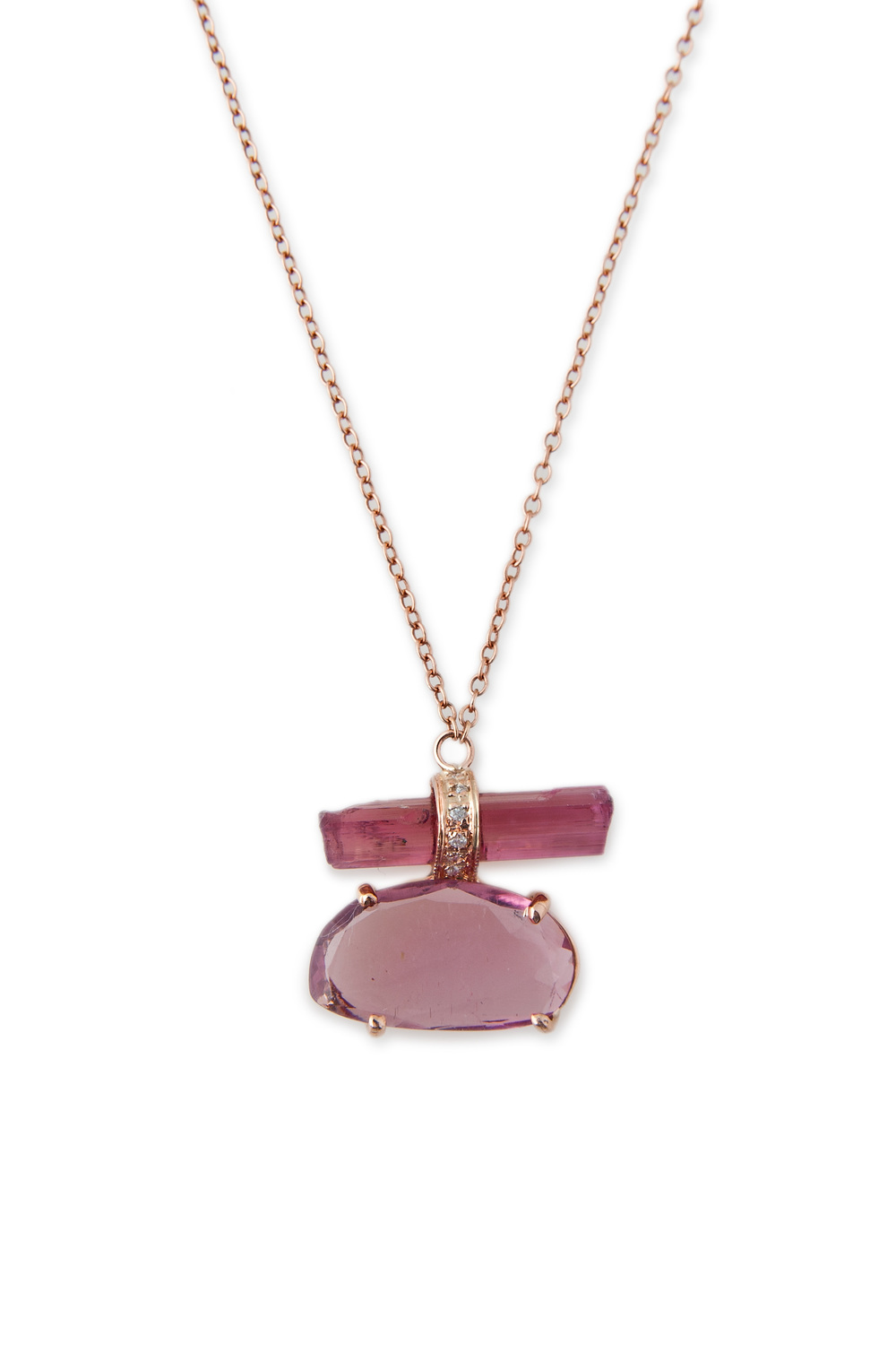 Pink Tourmaline Bar and Freeform Tourmaline necklace, $2,065, available at Broken English.