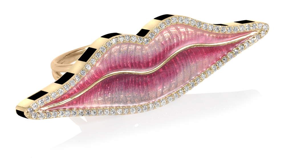 Enamel and diamond 'lips' ring by Holly Dyment available at Fivestory NY 212.288.1338