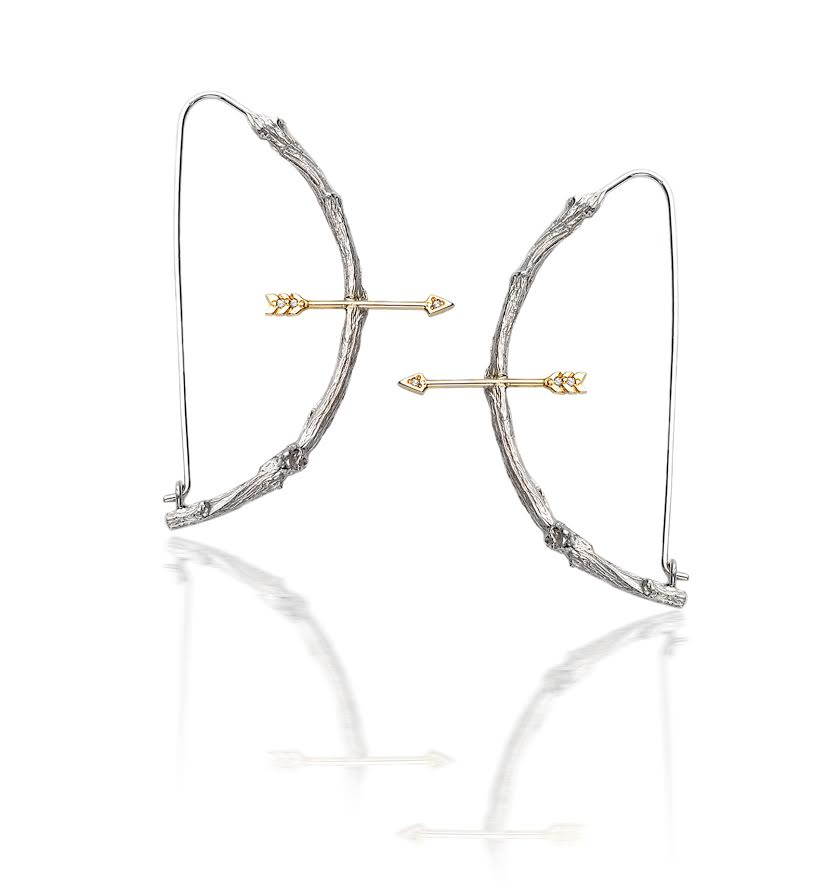 Small Twig 1/2 hoop earrings with arrows in 18k white gold, $2,840.