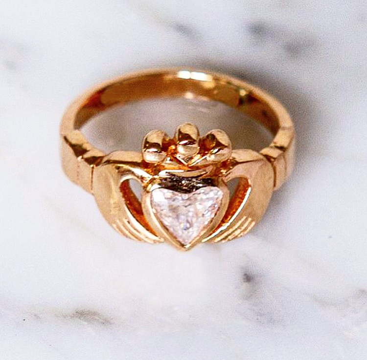Our clients already owned silver Claddagh rings, but wanted something special to commemorate making it legal. Enter this completely handmade 18k rose gold version with a diamond heart.