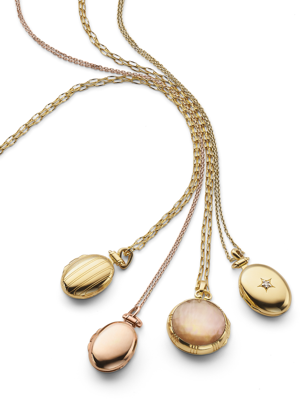 Classic rose and yellow gold lockets.