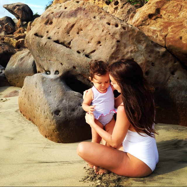 Claudia with her daughter, Mila, in Punta Mita, Mexico.