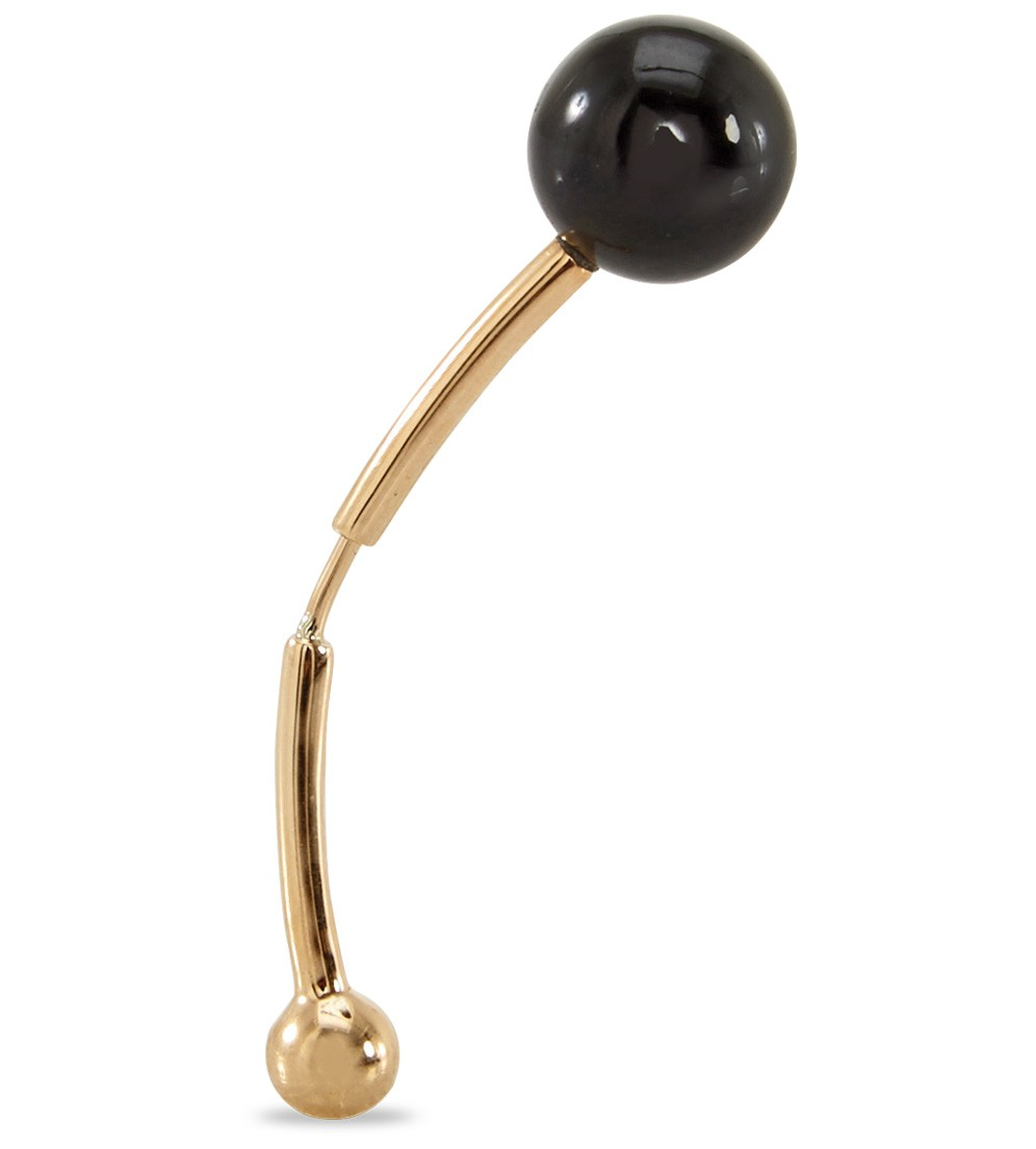 Shay black Ball Bar Earring in 14k gold, $910, available at Just One Eye.