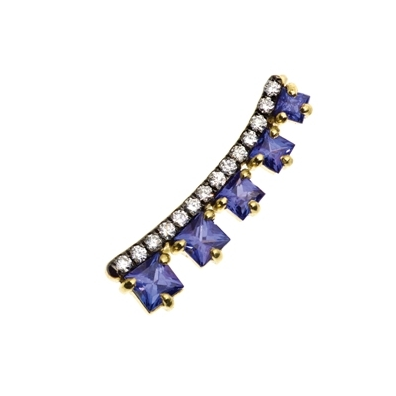 Jemma Wynne Tanzanite and diamond ear cuff in 14k gold, $3570, available at Single Stone.