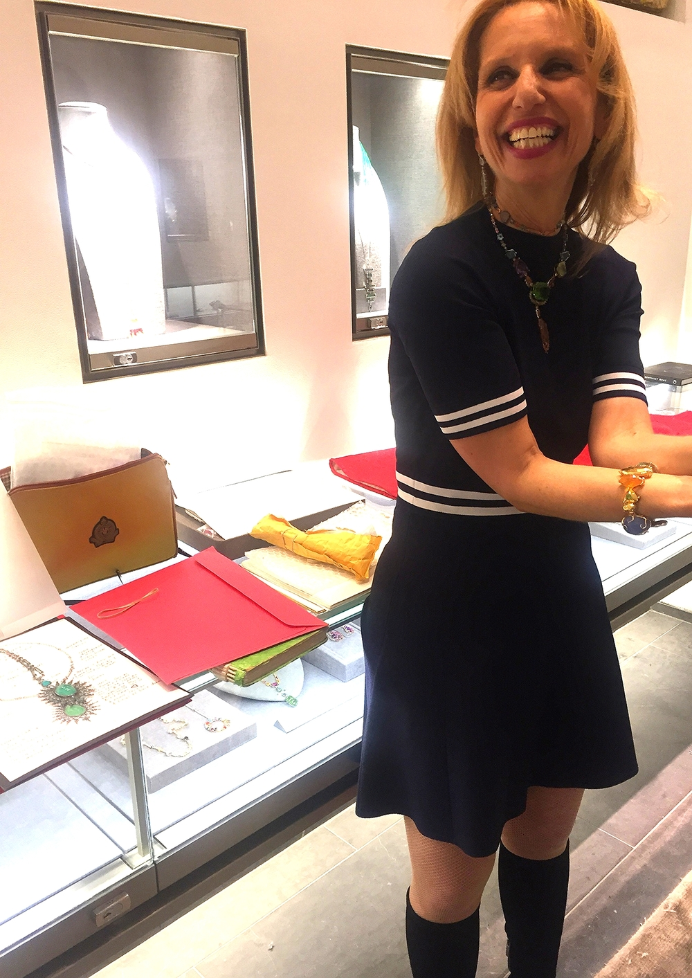 Sharon Khazaam enjoying Meaghan'sadoration of her beautiful jewels at Barneys, during her trunk show.