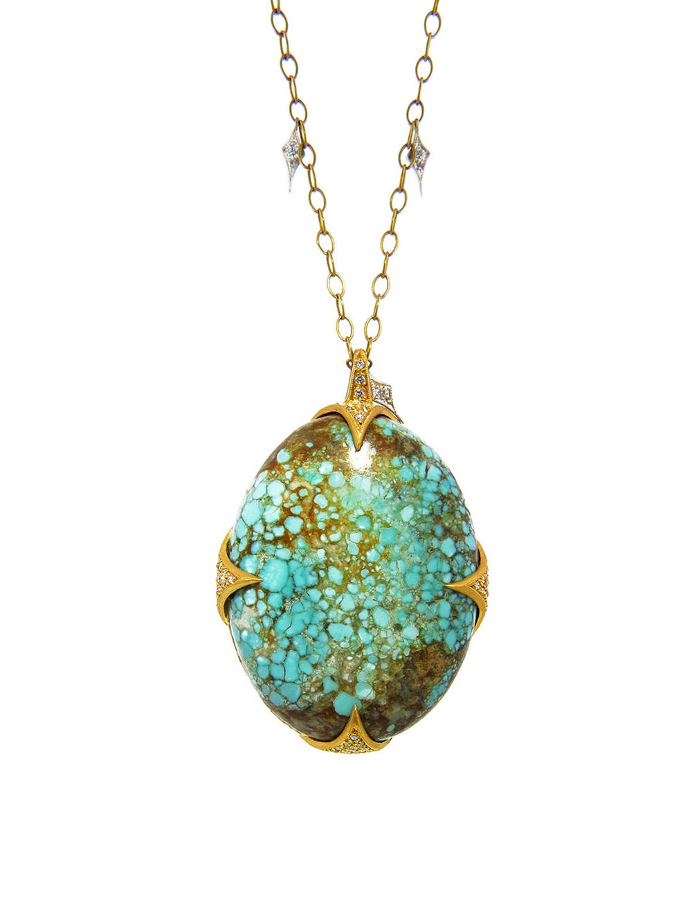 Cathy Waterman kimono turquoise thorn pendant, $8,980, available at  Ylang23 .