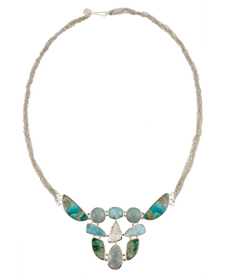 Melissa Joy Manning necklace in sterling silver and 14-karat gold with Mexican chrysocolla, smithsonite, Brazilian aquamarine and hemimorphite druzy, $3,300,  available at Net-A-Porter .
