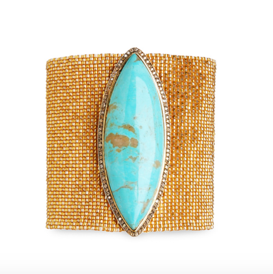 Silva Furmanovich 18-karat yellow gold, turquoise and porcelain bead bracelet, price upon request,  available at Silvia Furmanovich .