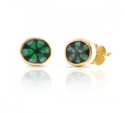 Loriann Stevenson  trapiche emerald studs in 18-karat yellow gold, $2,883,  available at Loriann Stevenson .