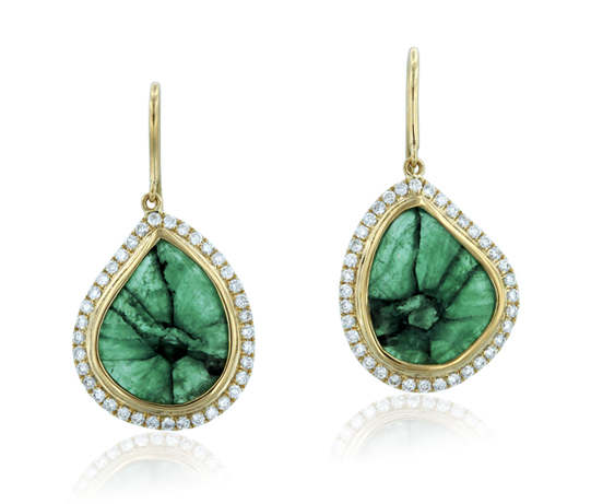 YAEL Designs  trapiche emerald earrings in 18-karat yellow and white gold with diamonds, price upon request,  YAEL Designs .
