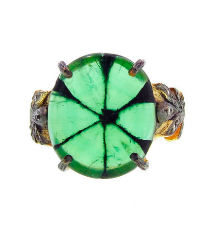 Cathy Waterman  natural trapiche emerald Oak Leafside ring in 22-karat yellow gold, price upon request,  Ylang23 .