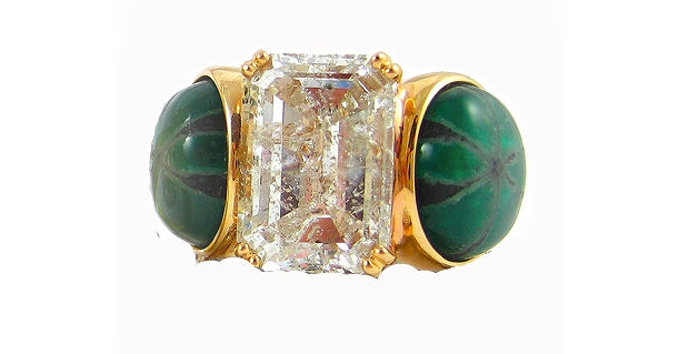 K. Brunini's 9.85 tcw trapiche emerald ring with a 6.34 carat radiant-cut diamond. $91,520 seems a small price to pay for my happiness, no?