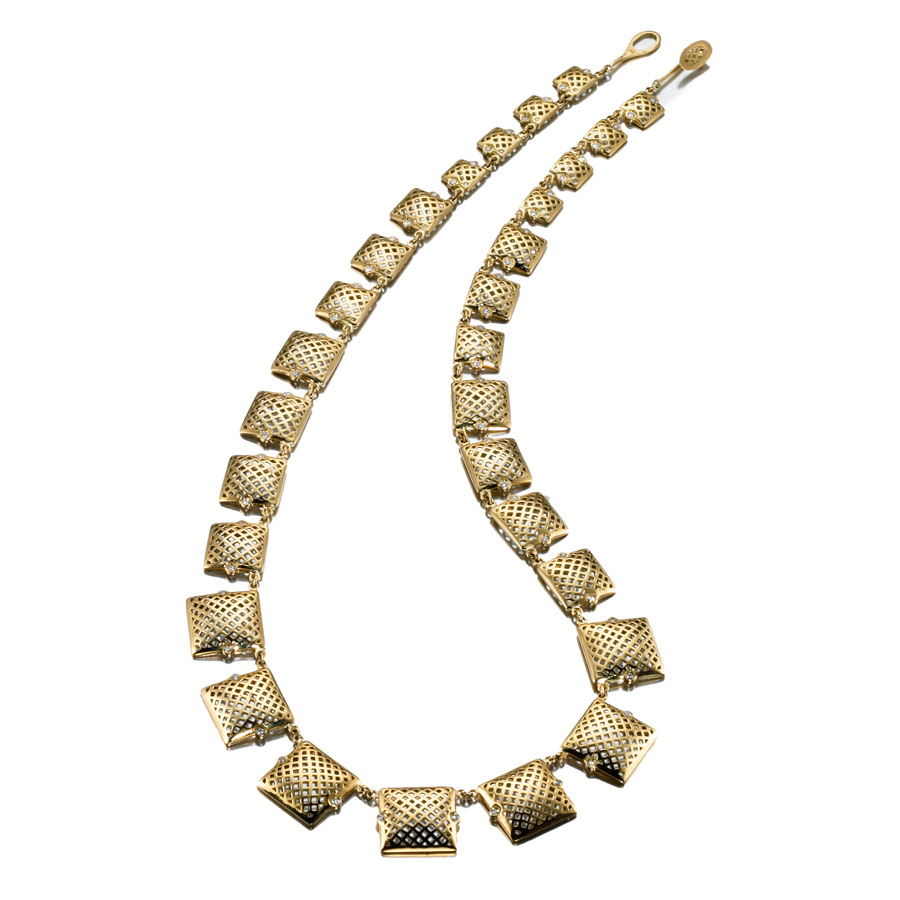 18kt Yellow Gold graduated crownwork square necklace with diamond accents (0.75cts).