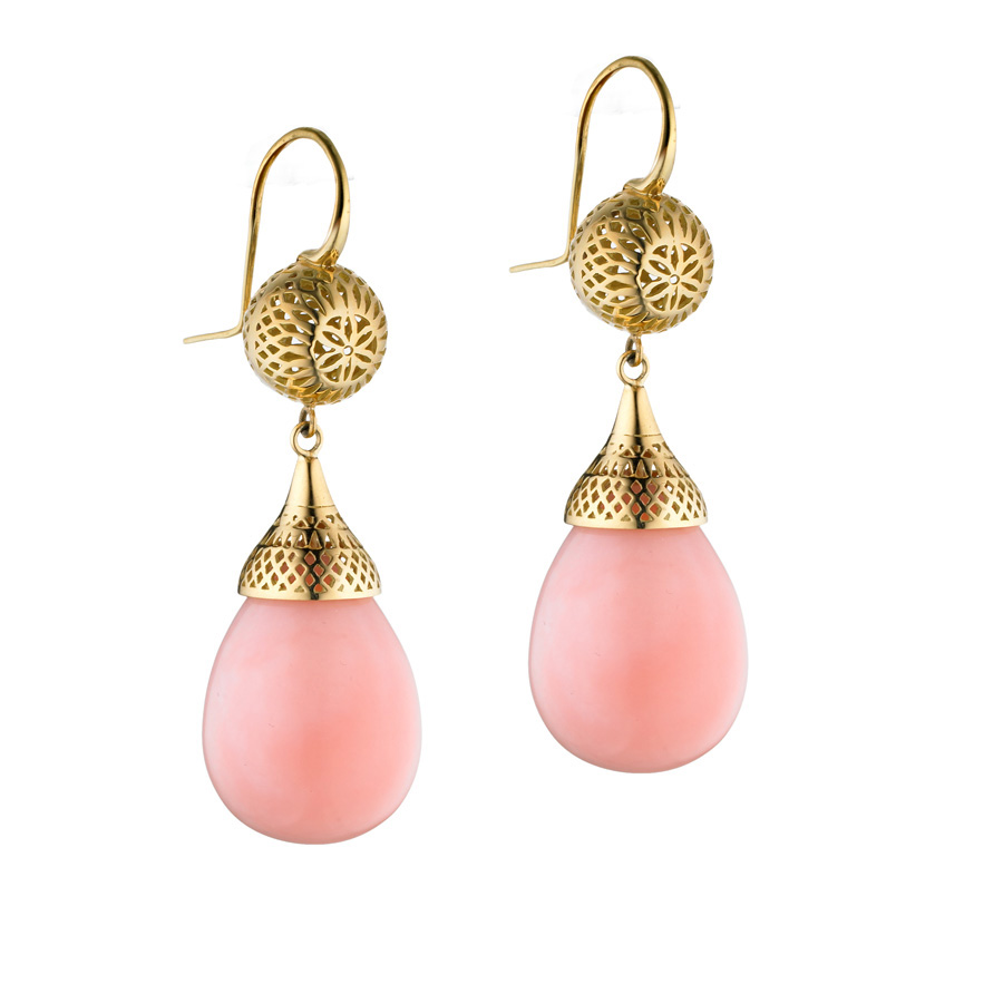 18k Yellow Gold crownwork ball drop earrings with pink Peruvian opals on tapered hooks.