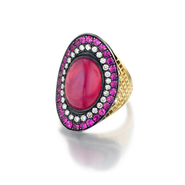 18ct Yellow Gold crownwork Regency ring with bezel set Pink Spinal (10cts) and pave white diamond (.50cts) and pink sapphire (1.85cts) surround set in oxidized silver.