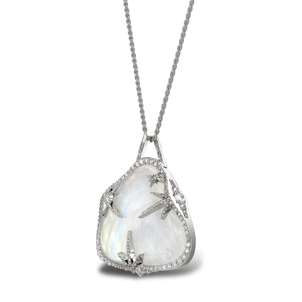 Theiya Lumia pendant in white gold with moonstone and diamonds.