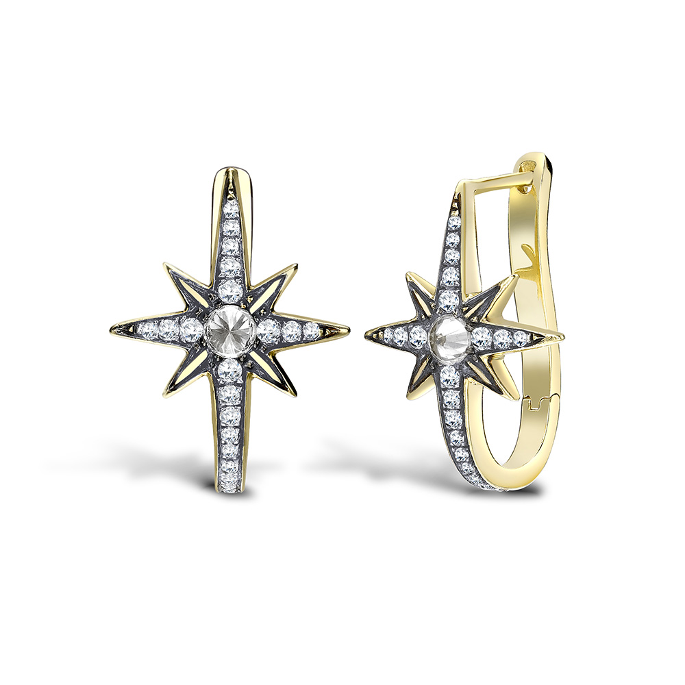 Venyx Star Earring Yellow Gold, Diamonds, Sapphire.jpg