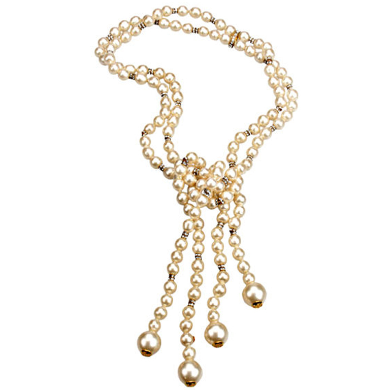 1980s  Chanel  pearl double strand necklace accented with rhinestone rondels, $4,800,  available at 1stdibs.com .
