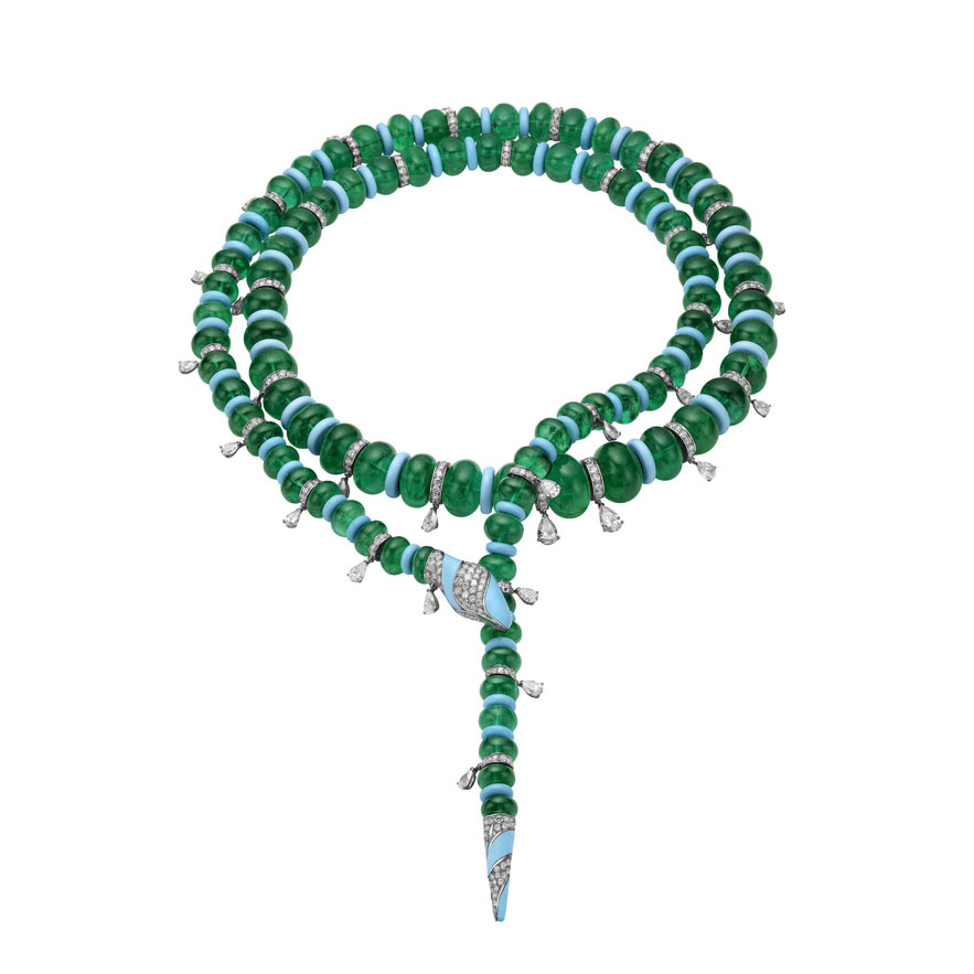 Bulgari  Serpentilariat in white gold with emeralds (1,146.93 carats), 2 pear-cut diamonds (2.14 carats), pear cut diamonds (14.57 carats) turquoises and pavé diamonds (18.85 carats).