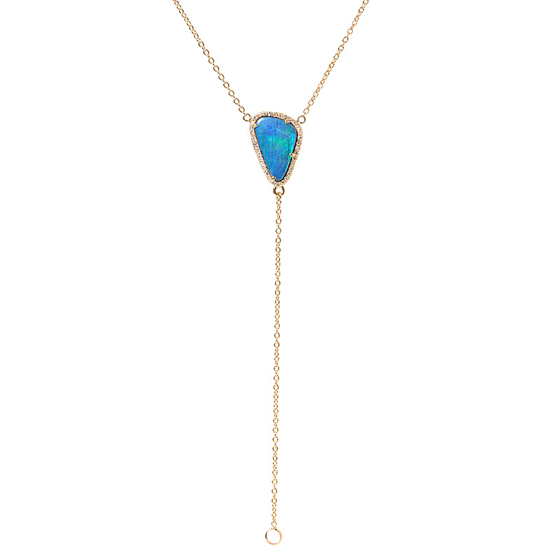 Getana  Boulder opal lariat in 18-karat yellow gold with diamonds, $1,025,  available at Greenwich Jewelers .
