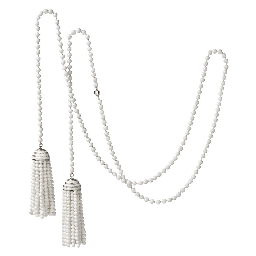 Ivanka Trump  white agate bead double tassel lariat in 18k white gold with diamonds, $7,800,  available at Betteridge .